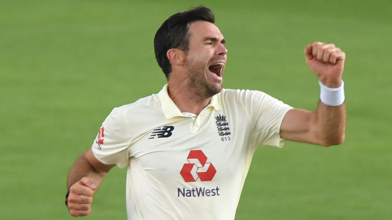 SOUTHAMPTON, ENGLAND - AUGUST 13: James Anderson of England celebrates taking the wicket of Azhar Ali of Pakistan during Day One of the 2nd #RaiseTheBat Test Match between England and Pakistan at The Ageas Bowl on August 13, 2020 in Southampton, England