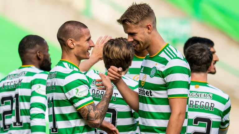 Celtic could look to provide defensive cover from Kristoffer Ajer (right)