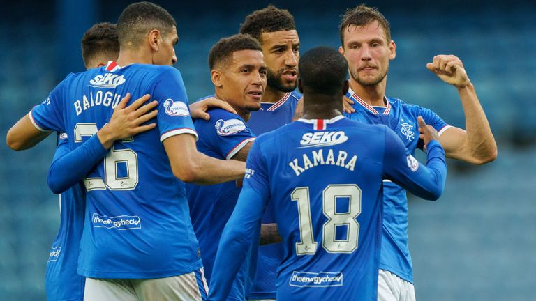 Rangers' Borna Barisic celebrates his goal with teammates