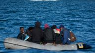 DOVER, ENGLAND - SEPTEMBER 06:  Nine migrants drift in the English Channel after their engine failed on September 06, 2020 in Dover, England. The nine male migrants were making their way to the South Coast of England when their outboard motor failed and only had one life jacket amongst them. Last Wednesday, more than 400 migrants made the journey from France to England by sea, either intercepted by UK border force or arriving on shore in their small boats. (Photo by Christopher Furlong/Getty Images)