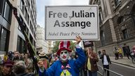 Supporters of Assange gathered outside the Old Bailey