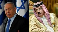 Israel's Benjamin Netanyahu, and Bahrain's Salman bin Hamad Al Khalifa. File pic