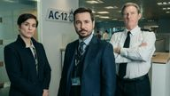 Vicky McClure, Martin Compston and Adrian Dunbar as DI Kate Fleming, DS Steve Arnott and Superintendent Ted Hastings in Line Of Duty. Pic: BBC