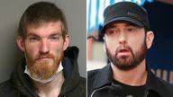 Matthew Hughes and Eminem. Pics: Macomb County Sheriff Office/Getty