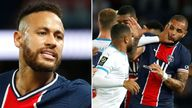 Neymar was among five players sent off as a mass brawl erupted in stoppage time