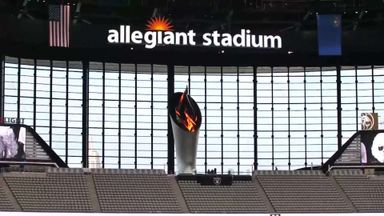 Torch lit for first time at Allegiant Stadium
