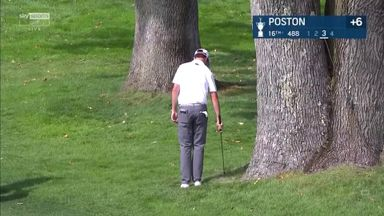 Poston hits backwards shot from tree!