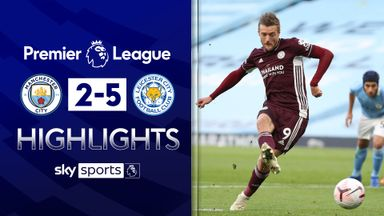 Vardy stars as Leicester score five at Man City