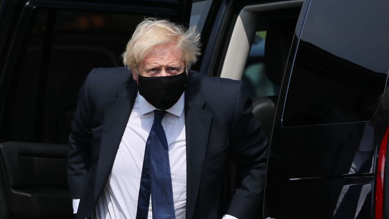 Prime Minister Boris Johnson arrives at the Northern Ireland Ambulance Service HQ during his visit to Belfast.