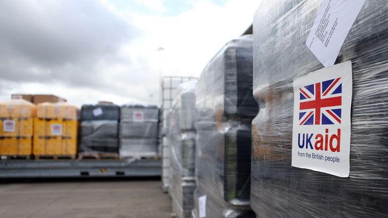 File photo dated 13/8/2014 of cargo from UK Aid waiting to be loaded on to an Antonov An-12B aircraft at East Midlands Airport. Prime Minister Boris Johnson has announced that he has merged the Department for International Development (Dfid) with the Foreign Office, creating a new department, the Foreign Commonwealth and Development Office.