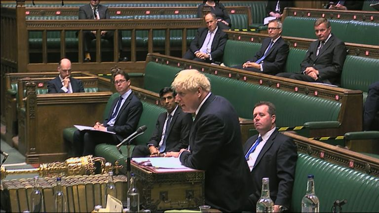 Prime Minister Boris Johnson speaks during Prime Minister's Questions in the House of Commons, London.