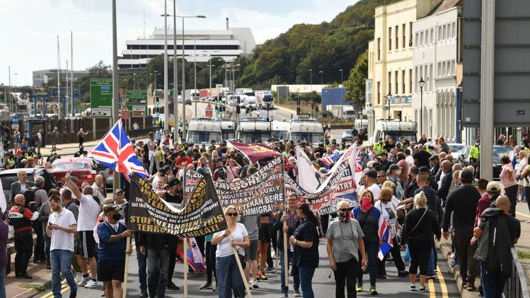Anti-migrant protesters demonstrate in Dover against immigration and the journeys made by refugees crossing the Channel to Kent.