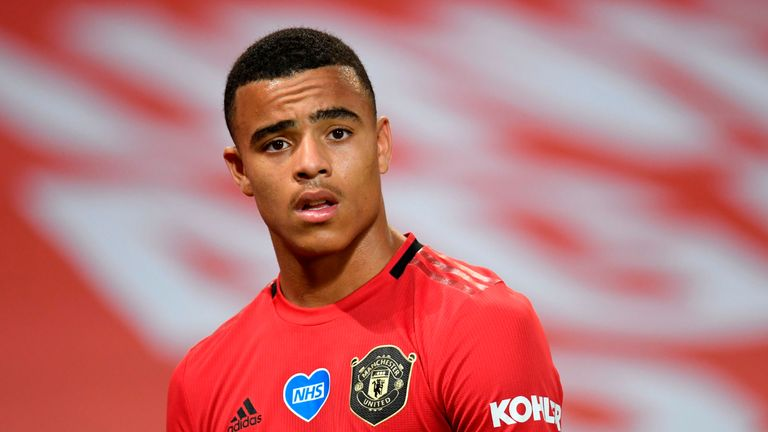 Manchester United's English striker Mason Greenwood looks on during the English Premier League football match between Manchester United and Southampton at Old Trafford in Manchester, north-west England, on July 13, 2020. (Photo by PETER POWELL / POOL / AFP) / RESTRICTED TO EDITORIAL USE. No use with unauthorized audio, video, data, fixture lists, club/league logos or 'live' services. Online in-match use limited to 120 images. An additional 40 images may be used in extra time. No video emulation. Social media in-match use limited to 120 images. An additional 40 images may be used in extra time. No use in betting publications, games or single club/league/player publications. /  (Photo by PETER POWELL/POOL/AFP via Getty Images)