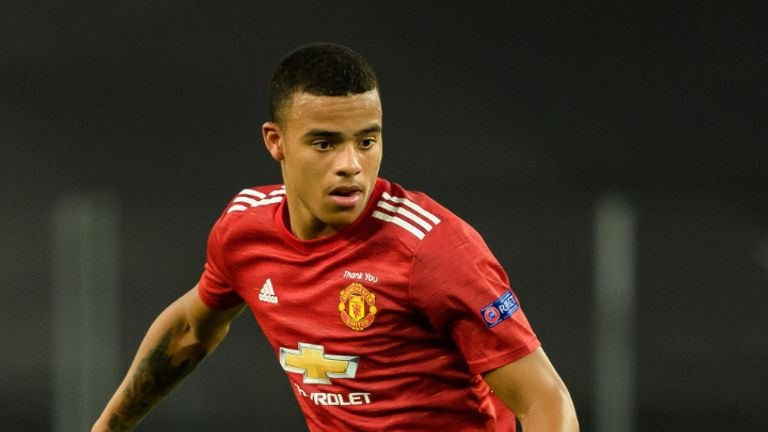COLOGNE, GERMANY - AUGUST 10: (BILD ZEITUNG OUT) Mason Greenwood of Manchester United controls the ball during the UEFA Europa League Quarter Final between Manchester United and FC Kobenhavn at RheinEnergieStadion on August 10, 2020 in Cologne, Germany. (Photo by Alex Gottschalk/DeFodi Images via Getty Images)
