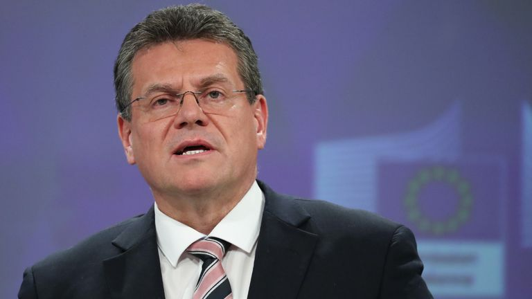 European Commission vice-president Maros Sefcovic addresses a press conference following an EU ministers' meeting at the European Commission Headquarters in Brussels on January 29, 2020, as Brexit Day is to be set in stone today when the European Parliament in Brussels casts a vote ratifying the terms of Britain's divorce deal from the EU. (Photo by Aris Oikonomou / AFP) (Photo by ARIS OIKONOMOU/AFP via Getty Images)