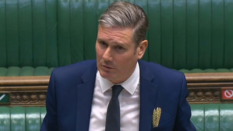 Labour leader Keir Starmer speaks during Prime Minister's Questions in the House of Commons, London.