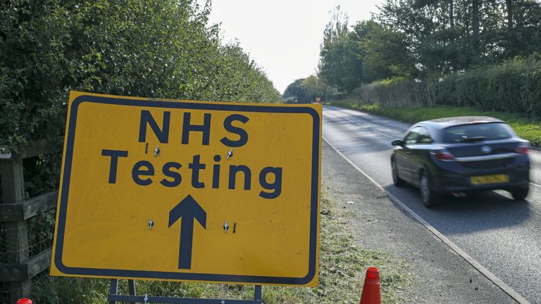 A sign directing traffic to a NHS Coronavirus testing centre near Newbury.
