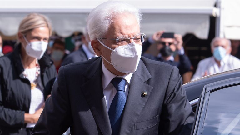 SASSARI, ITALY - SEPTEMBER 24: The President of the Italian Republic Sergio Mattarella on his arrival at the University of Sassari wears a protective mask against the spread of Covid-19 on September 24, 2020 in Sassari, Italy. (Photo by Emanuele Perrone/Getty Images)