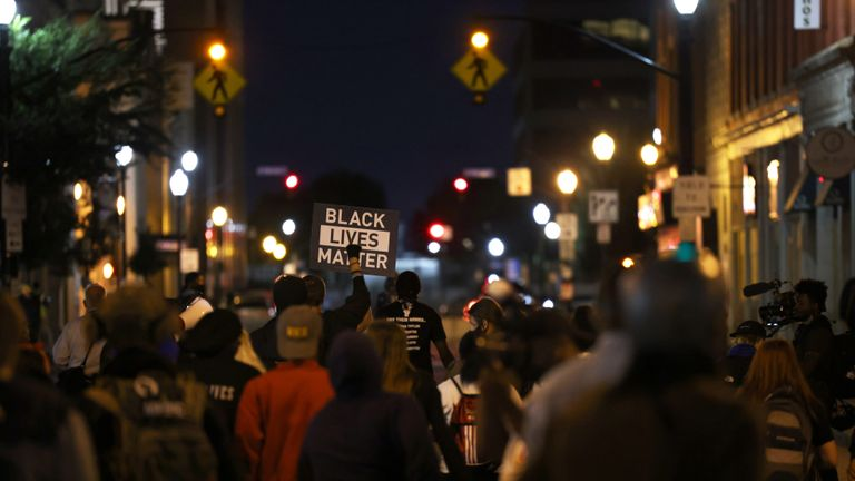 LOUISVILLE, KENTUCKY - SEPTEMBER 24: Demonstrators march through the streets on September 24, 2020 in Louisville, Kentucky. A Kentucky grand jury indicted one police officer involved in the shooting of Breonna Taylor with three counts of wanton endangerment. No officers were indicted on charges in connection to Taylor's death.  (Photo by Michael M. Santiago/Getty Images)