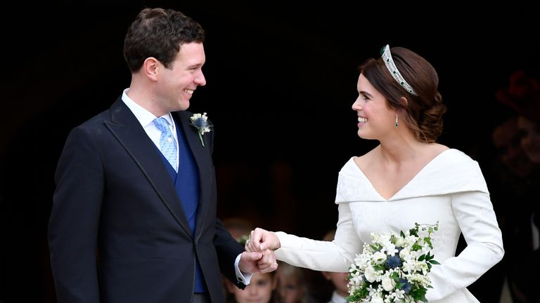 WINDSOR, ENGLAND - OCTOBER 12: Jack Brooksbank and Princess Eugenie of York leave the wedding of Princess Eugenie of York to Jack Brooksbank at St. George's Chapel on October 12, 2018 in Windsor, England.  (Photo by Toby Melville - WPA Pool/Getty Images)