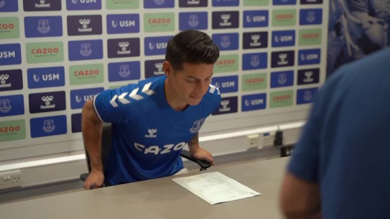 James Rodriguez tells Everton TV he wants to win trophies at the club and says he 'can't wait to perform'