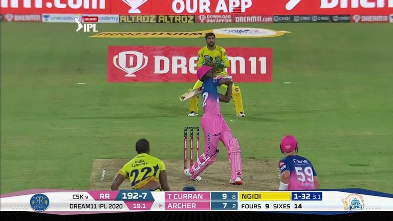 Archer smashed four sixes in a row for Rajasthan Royals against Chennai Super Kings!