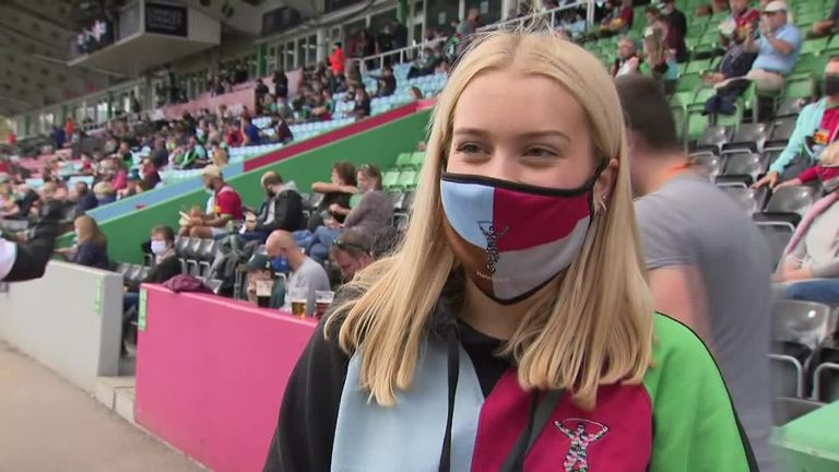 A Harlequins fan says she feels safe with the measures being implemented at the first premiership rugby game back with a crowd since lockdown.