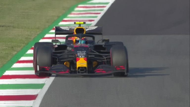 Impressive stuff from Alex Albon to sweep around the outside of the Renault into Turn One during the Tuscan GP