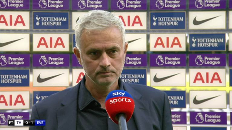 Mourinho speaking to Sky Sports following their 1-0 defeat against Everton