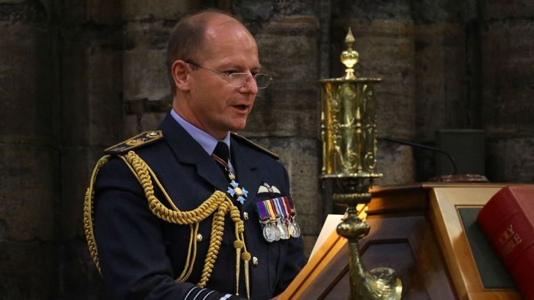 Air Chief Marshal Mike Wigston speaks during a service marking the 80th anniversary of the Battle of Britain at Westminster Abbey in central London on September 20, 2020. - Westminster Abbey has played a central role in remembering the sacrifice of those who fought in the battle, holding a Service of Thanksgiving and Rededication on Battle of Britain Sunday every year since 1944. (Photo by Aaron Chown / POOL / AFP) (Photo by AARON CHOWN/POOL/AFP via Getty Images)