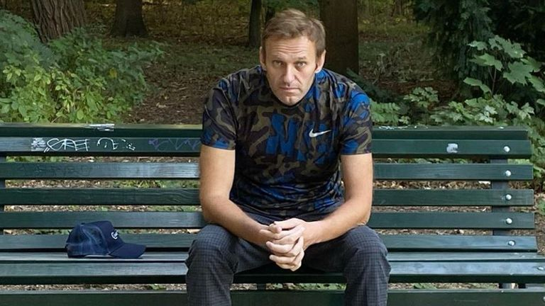 Alexei Navalny sit on a park bench in Berlin, after being discharged from hospital. Pic: @navalny