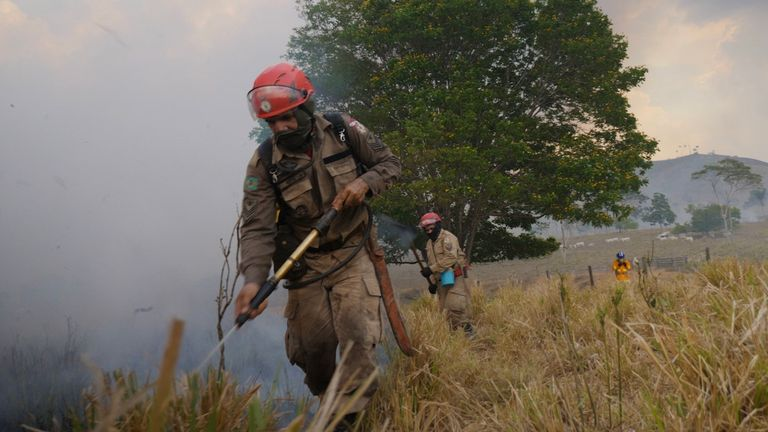Firefighters in Sao Felix do Xingu municipality battle another wildfire in the rainforest