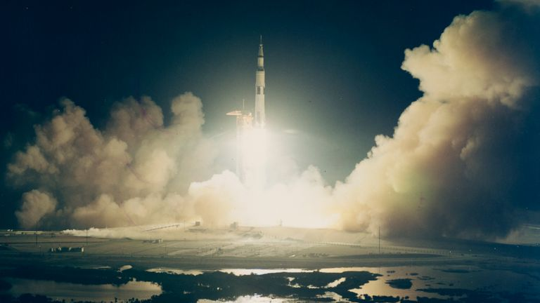 The launch of NASA's Apollo 17 spacecraft from Pad A, Launch Complex 39 of the Kennedy Space Center in Florida, 7th December 1972. This is the first nighttime launch of the Saturn V vehicle. (Photo by Space Frontiers/Getty Images)