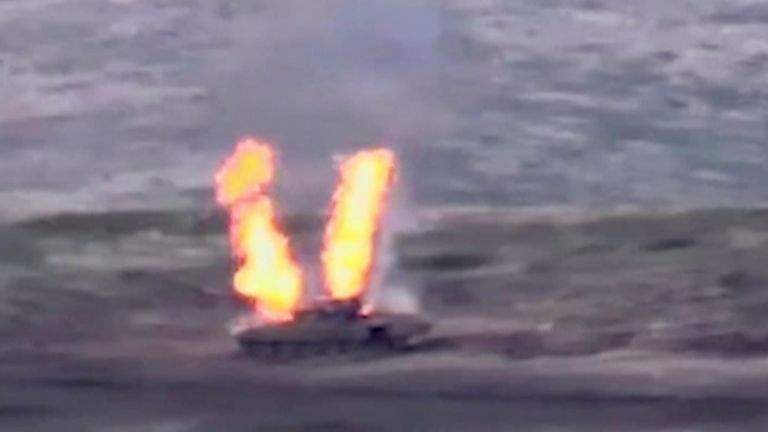 A still image from a video released by the Armenia shows what is said to be an Azerbaijani armoured vehicle destroyed by Armenian forces