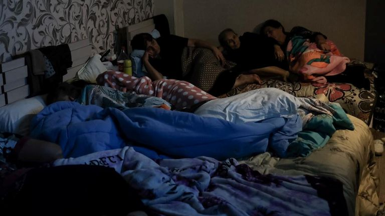 People are seen in a bomb shelter in Stepanakert, the capital of the Nagorno-Karabakh region. Pic: Armenian Foreign Ministry
