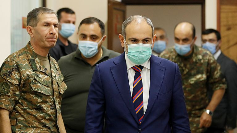 Armenian Prime Minister Nikol Pashinyan meets with the country's military leaders. Pic: Armenian government