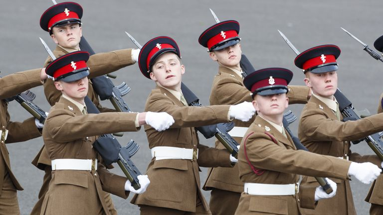 A graduation parade at the Army Foundation College in Harrogate, North Yorkshire, where Captain Sir Tom Moore, in the role of Chief Inspecting Officer, inspected the junior soldiers.