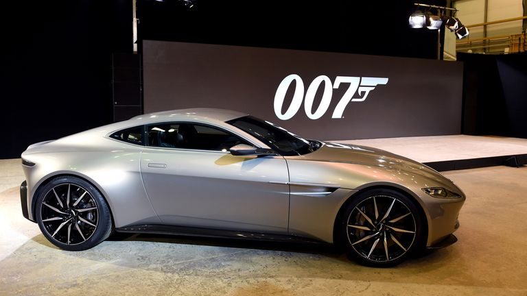 An Aston Martin DB10 is shown at Pinewood Studios