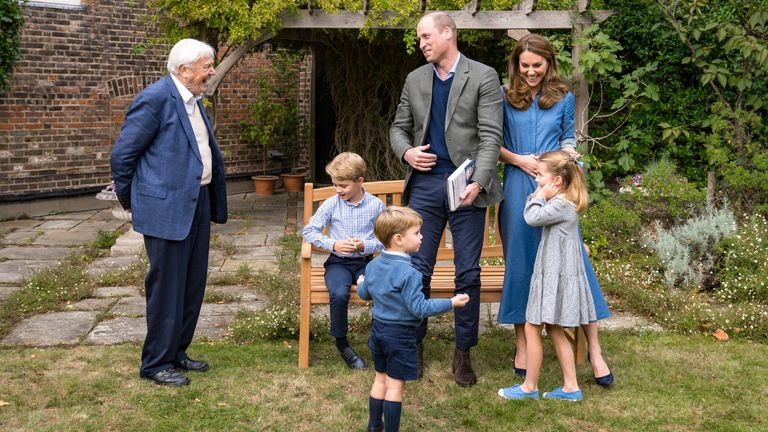 The Cambridges met Sir David Attenborough, who gave Prince George a shark's tooth. Pic: Kensington Palace