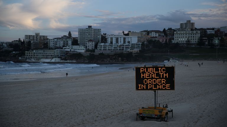 A public health message is seen amidst the easing of the coronavirus disease (COVID-19) restrictions at Bondi Beach in Sydney, Australia, May 27, 2020
