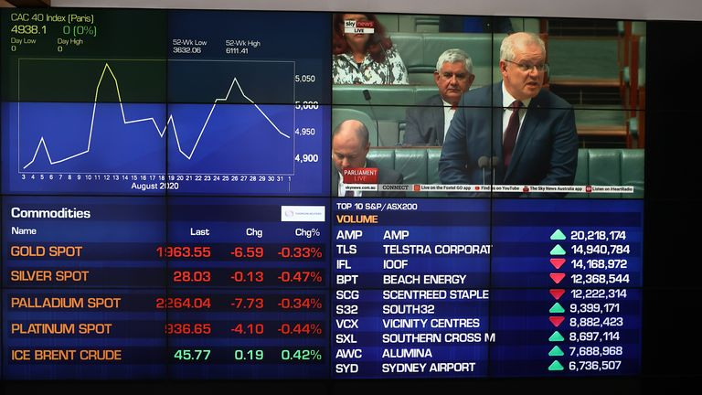 A general view of stock displays as Scott Morrison, Prime Minister of Australia, is seen on the screen at the Australian Stock Exchange on September 02, 2020 in Sydney, Australia