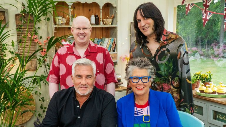 Bake Off judges Paul Hollywood and Prue Leith with presenters Noel Fielding and Matt Lucas. Pic: Channel 4