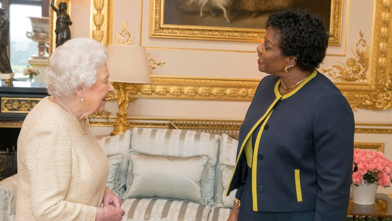 The Queen with governor-general of Barbados Dame Sandra Mason in 2018