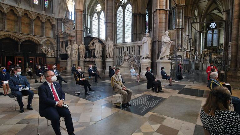 Social distancing and the wearing of face coverings are employed during a service marking the 80th anniversary of the Battle of Britain at Westminster Abbey in central London on September 20, 2020. - Westminster Abbey has played a central role in remembering the sacrifice of those who fought in the battle, holding a Service of Thanksgiving and Rededication on Battle of Britain Sunday every year since 1944. (Photo by Aaron Chown / POOL / AFP) (Photo by AARON CHOWN/POOL/AFP via Getty Images)