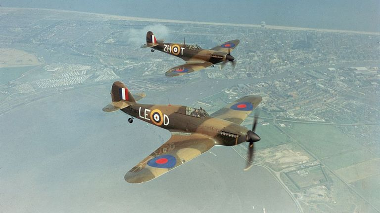 A Hawker Hurricane IIc LF363 (foreround), and a Supermarine Spitfire IIa P7350 with markings as they appeared in Guy Hamilton's film 'Battle Of Britain', 1969. Built in 1940, the Spitfire took part in the Battle of Britain, serving with 266 Squadron and 603 (City of Edinburgh) AuxAF Squadron. The Hurricane was built in 1944 and is believed to be the last Hurricane to enter service with the RAF. Both aircraft are still flying with the Battle of Britain Memorial Flight. (Photo by Fox Photos/Getty