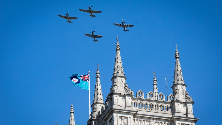 Spitfires and a Hurricane do a flyby of Westminster Abbey to mark the 80th anniversary of the end of the Battle of Britain