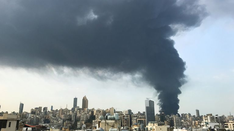 Smoke rises over Beirut's port area