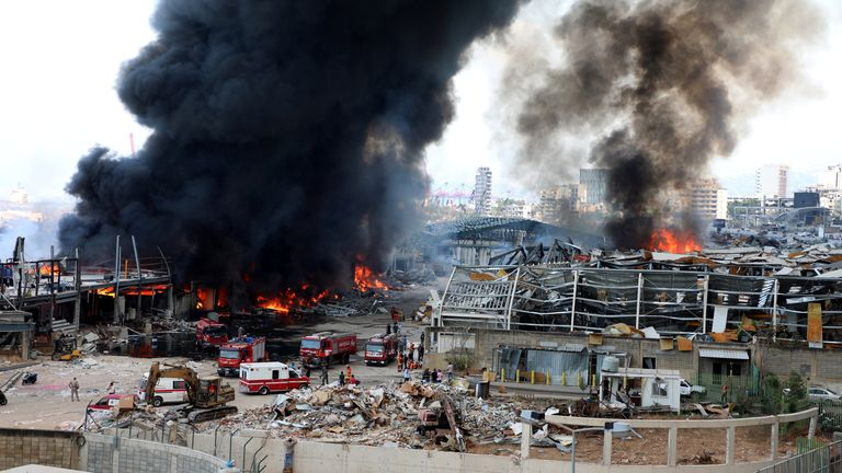 A view shows the site of a fire that broke out at Beirut's port area, Lebanon September 10, 2020. REUTERS/Mohamed Azakir