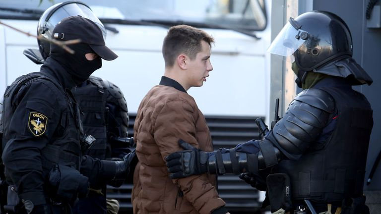 A man is arrested by Police on September 20, 2020 in Minsk on the sidelines of a demonstration called by opposition movement for an end to the regime of authoritarian leader Alexander Lukashenko. - Belarusian authorities brought today military trucks and barbed wire into central Minsk ahead of a planned opposition march, a day after police detained hundreds of women demonstrators. (Photo by - / TUT.BY / AFP) (Photo by -/TUT.BY/AFP via Getty Images)