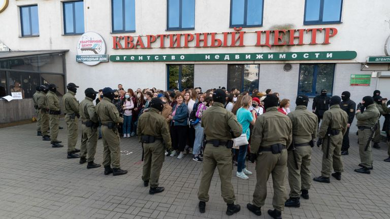 MINSK, BELARUS - SEPTEMBER 19: Peaceful protesters are encircled by police and arrested on mass during a women's march on September 19, 2020 in Minsk, Belarus. Women have been at the forefront of Belarus's protest movement following the disputed August 9th presidential election, which government critics allege was rigged in favor of current President Alexander Lukashenko. (Photo by Jonny Pickup/Getty Images)